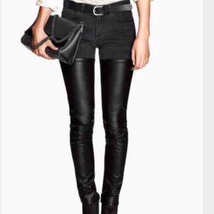 H&M half faux leather moto black jeans size 8